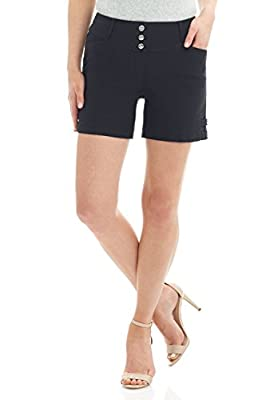Rekucci Women's Ease into Comfort Stretchable Pull-On 5 inch Slimming Tab Short (14,Black)