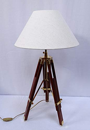 G4076 Maritime Tripot Stehlampe Stativlampe Dreibein Lampe Stoff Schirm 146 cm