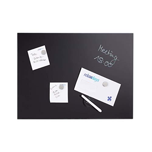 Relaxdays Magnettafel beschreibbar, inkl. 3 Magnete & Stift, abwischbar, Rahmenlos, Magnetboard Glas, Schwarz, 60 x 40 cm