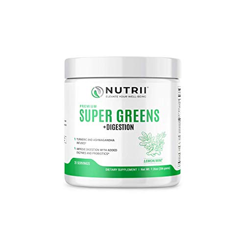 Nutrii Organic Green Superfood with Digestive Enzymes, Turmeric and Ashwagandha, Natural Immunity, Antioxidant, Veggie and Vitamin Supplement, Men and Women, Vegan (20 Servings, Lemon-Mint Flavor)