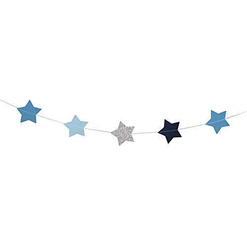 Rayher Hobby 87088376 Papier-Girlande Sterne, 5cm ø, blau-Töne/Silber Glitter, 2m, farblich Sortiert, SB-Btl 1Stück