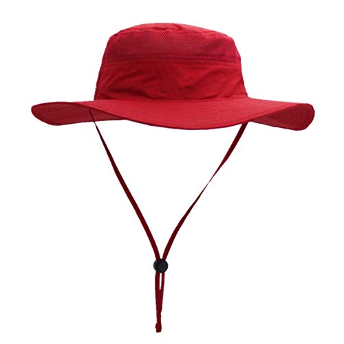 Home Prefer Outdoor Bucket Hat for Fishing Hiking Gardening Safari Sailing Wide Brim Mesh Sun Hat for Men Women Red