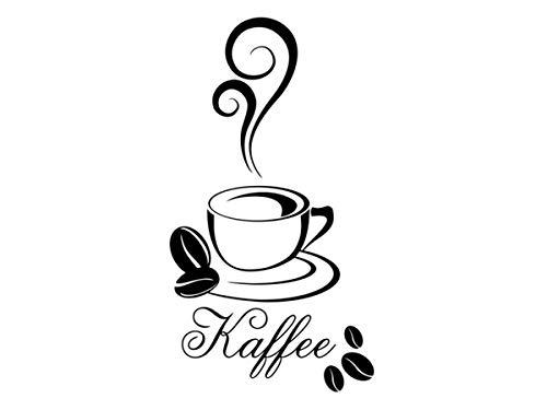 Wandtattoo Kaffee Wandaufkleber Coffee Wandsticker Küche Esszimmer Café 30 Farben + 5 Größen exklusiv von Wandtattoo-bilder® Farbe Schwarz, Größe 30x54