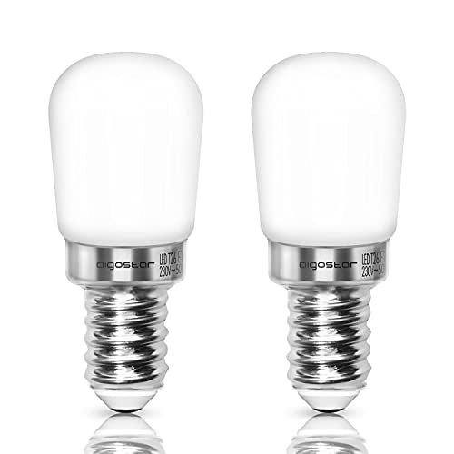 Aigostar Bombilla LED T26 E14, 2 W (equivalente a 14W), Blanco Frío, 2 unidades