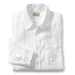 L.L.Bean(エルエルビーン) メンズ エル・エル・ビーン・リネン・シャツ、長袖 ジャパン・フィット Lサイズ White ホワイト UUL380006