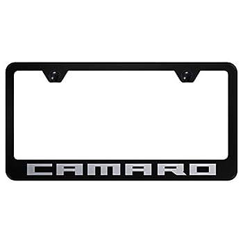 Au-Tomotive Gold INC Chevy Camaro License Plate Frame Black Powder Steel Laser Etched Metal z28 RS SS
