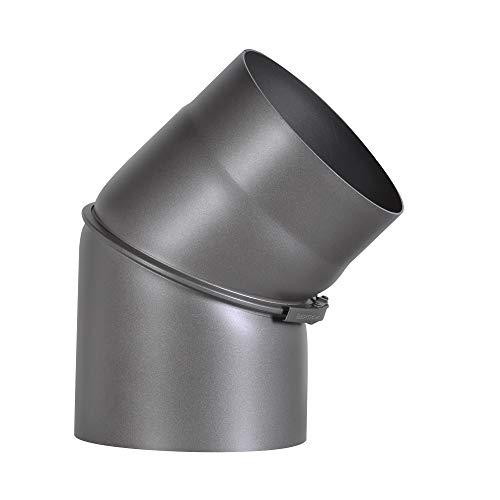 FIREFIX RD150/B45 Ofenrohrbogen aus 2 mm starken Stahl (Rauchrohr) in 150 mm Durchmesser, für Kaminöfen und Feuerstellen, Senotherm, dunkelgrau, 0-45 Grad verstellbar, ohne Reinigungstür, Schwarz