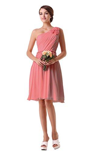 EnjoyBridal® Damen Kurz Chiffon EIN-Schulter Abendkleid Ballkleid Festkleid Brautjungfernkleid...