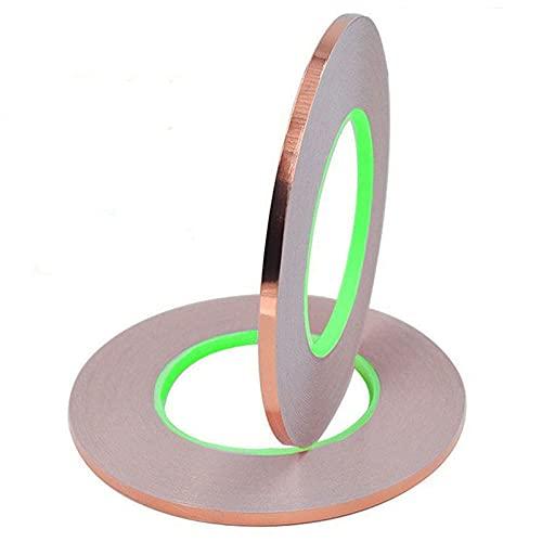 Senven Cinta Adhesiva primera calidad cobre - Conductor doble cara - (50m × 5 mm) × 2 - Blindaje EMI y RF, circuitos papel, soldadura, reparaciones eléctricas, Repelente de babosas - Paquete de 2