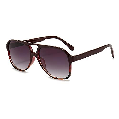 RUNHUIS Gafas de sol polarizadas para hombre y mujer, estilo retro de los años 70, estilo aviador, Vino Tinto Leopard,