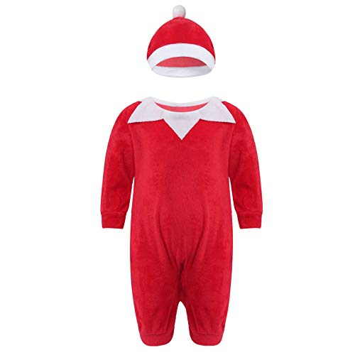 iiniim Traje de Navidad Manga Larga para Bebé Niño Niña Mi Primera Navidad Disfraz de Papá Noel Mono Unisex con Zapatos Mameluco Body con Sombrero Conjunto Navideño Invierno Rojoc 6-12 Meses