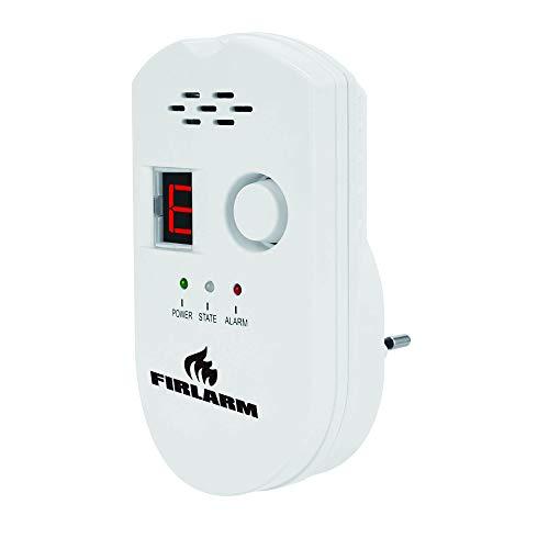 Firlarm - Gasmelder Methan Propan Butan Erdgas Flüssiggas Stadtgas Alarm, Brennbaren Gas Warnmelder, Plug-in Blinklicht und Mit Digitalanzeige