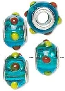 Pink /& Green Flower Lampwork Glass Silver Plated Large 4.5mm Hole Charm Bead 2pc