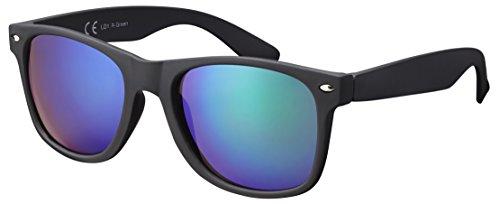 La Optica B.L.M. Sonnenbrille Herren Damen Unisex UV400 Verspiegelt Retro - Einzelpack Gummiert/Rubber Schwarz (Gläser: Grün Verspiegelt)