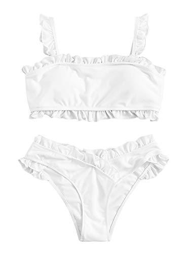 SweatyRocks Women's Bathing Suits Spaghetti Strap Ruffle Wrap Bikini Set Two Piece Swimsuits White#2 X-Large