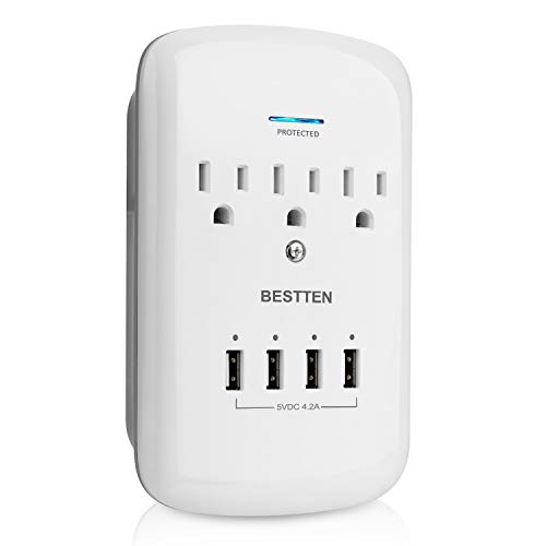 BESTTEN 1200-Joule Wall Mount Surge Protector, 4 USB Charging Ports (5VDC/4.2A) and 3 Grounded Outlets (15A/125V/1875W), ETL Listed, White