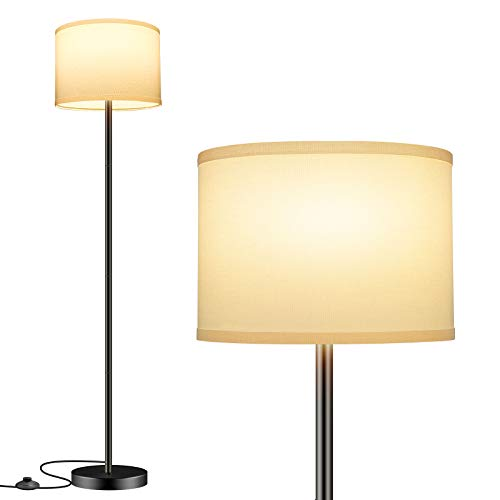 TOBUSA Floor Lamp Simple Design, Modern Standing Lamp with White Fabric Shade,Tall Pole Lamp for Home Living Room Bedroom Office Study Room Reading, Upright Floor Lights with Foot Switch, E26 Base