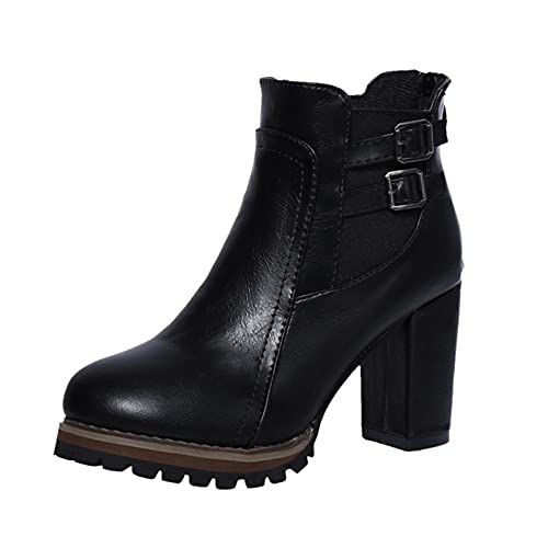 Briskorry High Heels botki damskie, buty zimowe, buty jednokolorowe, buty damskie, na jesień i zimę, buty na śnieg, ciepłe buty na platformie, buty z zapięciem
