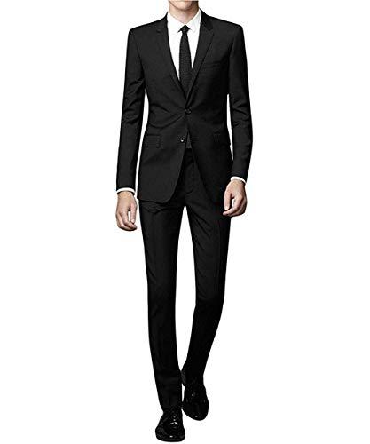 [YFFUSHI] スーツ メンズ 上下セット 二つボタン 黒 紺 灰色 スリム XS-2XL 3色