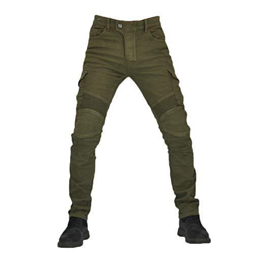 YOUCAI Hombre Motocicleta Pantalones Moto Pantalón Mezclilla Jeans con Protección Cargo Recto...