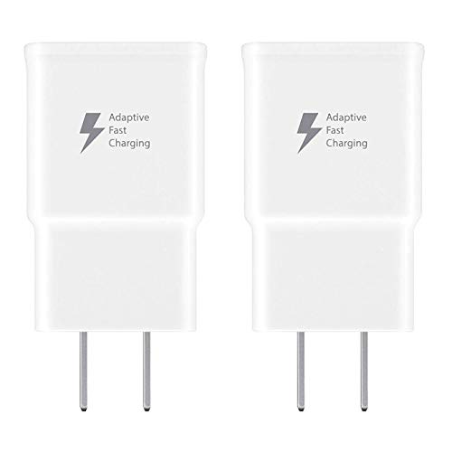 Spater Adaptive Fast Charging Wall Charger Compatible with Samsung Galaxy Note9 / Note8 / Note5 / S10 / S9 / S8 / S8 / S7 / S6 Plus, Galaxy S8 Active and More (2 Pack) (White)