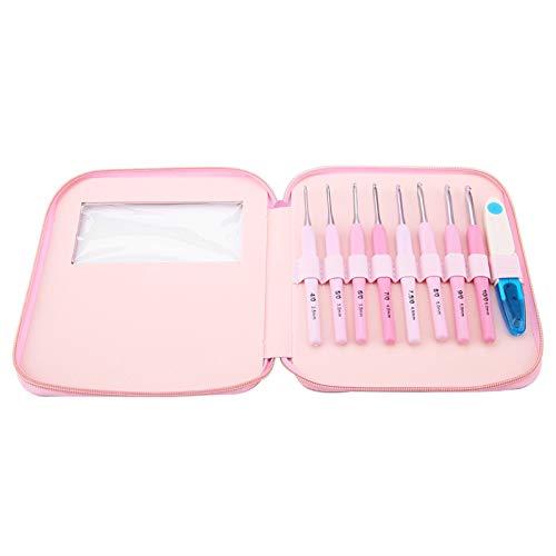 Juego de ganchos de ganchillo de 9 piezas, puntadas de agujas de tejer rosa de color degradado con mango suave colorido para manualidades de ganchillo