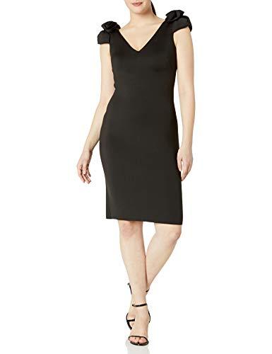 Eliza J Women's Sheath Dress with Shoulder Detail, Black, 10