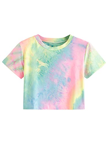 SweatyRocks Women#039s Striped Ringer Crop Top Summer Short Sleeve TShirts Tiedye Pink Blue Medium