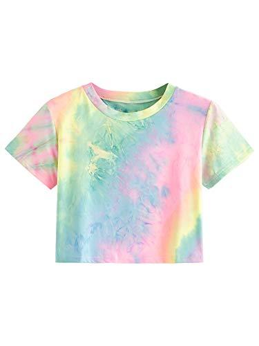 SweatyRocks Women's Striped Ringer Crop Top Summer Short Sleeve T-Shirts Tiedye Pink Blue Small