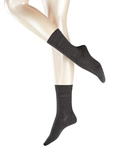 ESPRIT Damen Socken Uni 2-Pack - 80% Baumwolle, 2 Paar, Grau (Anthracite Melange 3080), Größe: 35-38