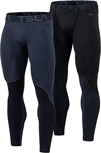 TSLA DRST Men's Thermal Compression Pants, Athletic Running Tights & Sports Leggings, Wintergear Base Layer Bottoms, Wintergear 2pack(yup73) - Black/Charcoal, Medium