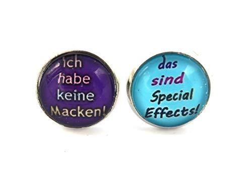 """Spruch Ohrstecker silber-farben 14mm\"""" Ich habe keine Macken ! Das sind Special Effects\"""" Ohrringe"""