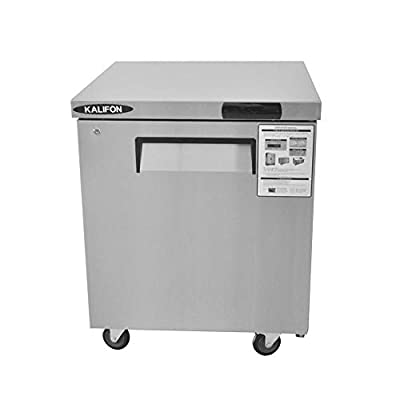 kalifon Commercial Undercounter Freezer 7.4 Cu. Ft Stainless Steel Worktop Freezers with Single Solid Door for Kitchen Restaurant, with Lift Gate