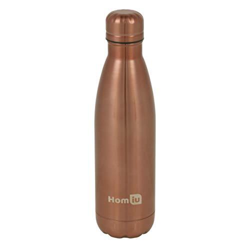 Botella de agua Homiu con aislamiento al vacío Frasco Ultimate Caliente y fría Doble pared de acero inoxidable Ideal para bebidas deportivas (cobre, 500 ml)