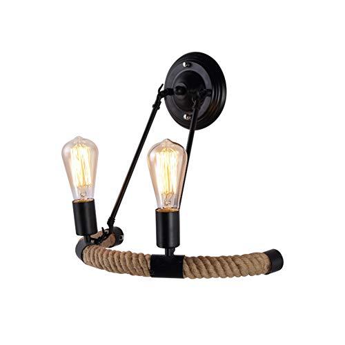 Cuican Retro Kandelaar, industriële, metaal, persoonlijkheid, henneptouw, decoratief design, wandlamp voor hal, woonkamer, restaurant, wandlamp, E27, 2 stuks