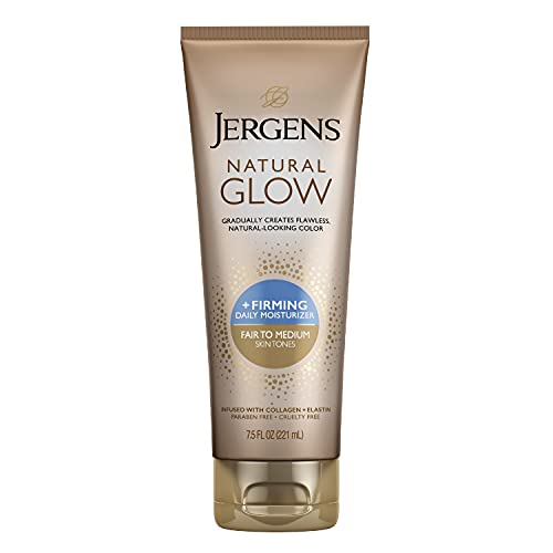 Jergens Natural Glow +FIRMING Body Lotion, Fair to Medium Skin Tone, 7.5 Ounce Sunless Tanning Daily Moisturizer with Collagen and Elastin. Helps to Visibly Reduce Cellulite