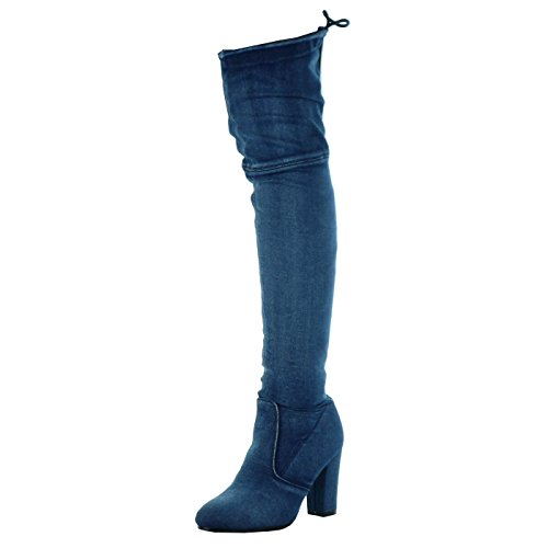Angkorly - Damen Schuhe Oberschenkel-Boot - Reitstiefel - Kavalier - Jeans Denim - Flexible Blockabsatz high Heel 8.5 cm - Marineblauen H198 T 36