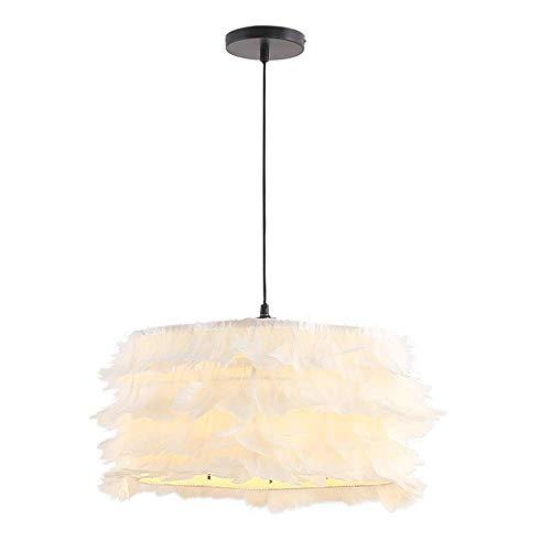 WYJW Kandelaar met veren, creatief, Nordic LED, ijzer, wit, decoratie, kroonluchter voor kinderen, plafondlampen, cartoon-boy, meisjes, woonkamer, slaapkamer, hanglamp, (EDI: B)