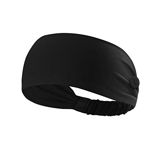 Hanna Roberts Headband with Buttons for Face Masks and Covers, Stretchy and Elastic (Black)