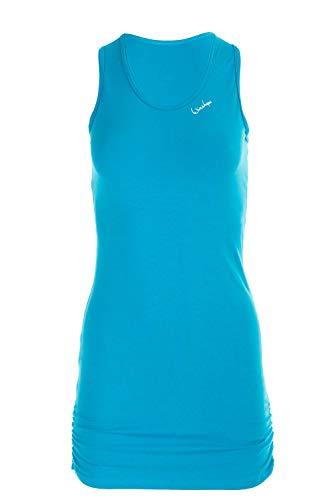 Winshape Damen Fitness Freizeit Longtop WTR15 mit seitlicher Raffung, Slim Style, türkis, M