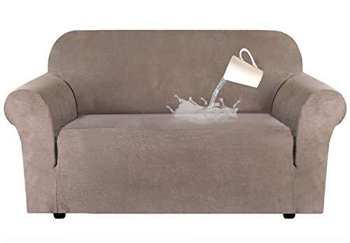 JHLD Stretch Sofabezug, Sesselbezug Wasserdicht Sofa Schutz Abdeckung Wildleder Stoff Weich Rutschfes Sofahusse Für Sesselbezug-Taupe-1Sitzer 80-120CM(32-48in)