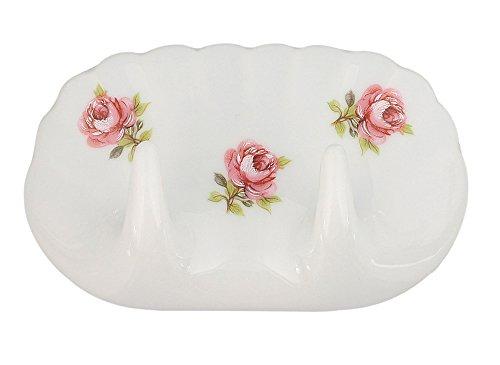 Doppel-Haken Rose vom Tegernsee, Porzellan-Haken weiß mit kleinen Rosen im Dekor, Kosmetex Wandhaken Handtuch-Haken, Haken 2er