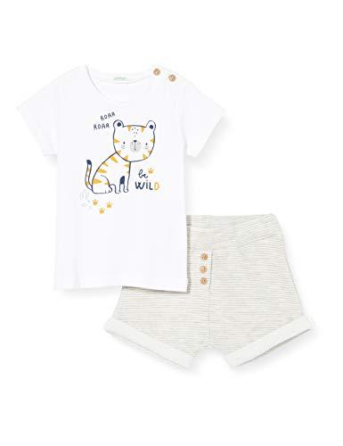 United Colors of Benetton Completo T-Shirt Bermuda Conjunto de Ropa, Gris (Grigio 901), 74 para Bebés