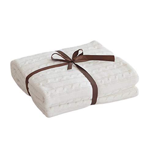 Handgemachte Strickdecke Platzdecke Wohndecke Decke Für Bett Sofa Couch Bank,Weiß,110x180cm