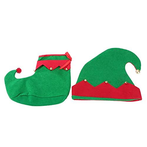 TOYANDONA 1 Juego de Disfraz de Elfo de Navidad para Nios Sombrero de Fieltro de Elfo de Navidad Y Zapatos de Elfo Accesorios de Disfraz de Navidad para Fiesta de Navidad 8- 12 Aos