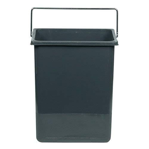Hailo Inneneimer 8.5 Liter Kunststoff dunkelgrau mit Henkel verchromt Abfallsammler, Plastik, 22.6 x 15 x 28.7 cm