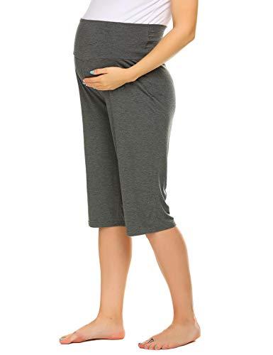 Balancora Pantaloni corti da donna a 3/4, per gravidanza, estivi, yoga, con pancia extra Fiore grigio. XL