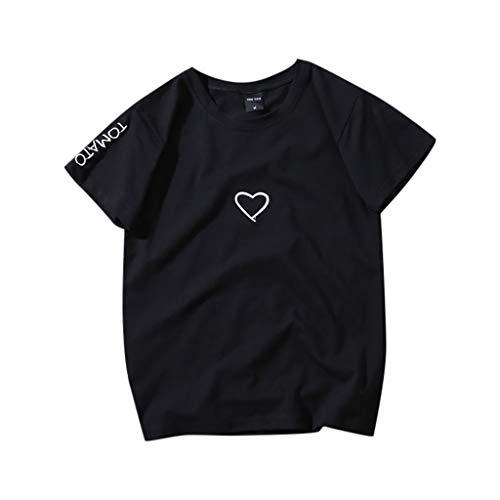 Auifor Unisex Tomato Love Print T-Shirt, Men's & Women's Casual Short Sleeve O-Neck Simple Basic Blouse Tops - Black - XX-Large