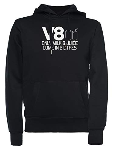 V8 - Only Milk & Juice Come In 2 Litres Dames Mannen Unisex Capuchon Sweatshirt Zwart Women's Men's Unisex Hoodie Sweatshirt Black