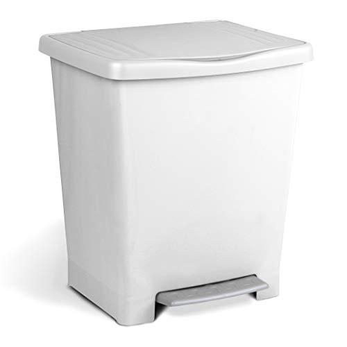 Tatay Millenium Cubo de Basura con Apertura Automática a Pedal o Manual, Capacidad 25 L, Fabricado en Plástico Polipropileno. Medidas 33,5 x 30 x 39 cm (L x An x Al). Color Blanco.
